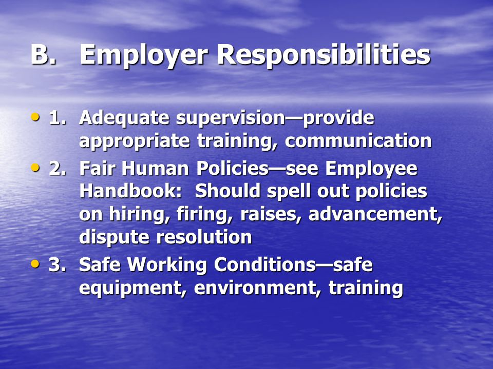 B. Employer Responsibilities