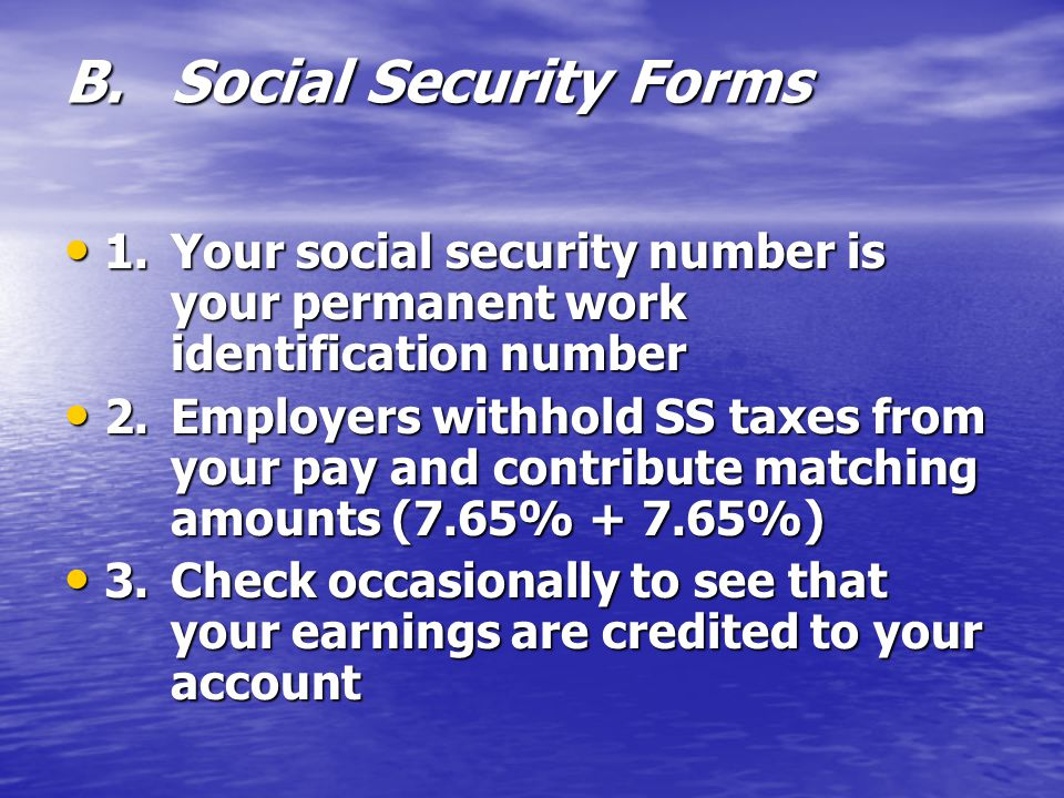 B. Social Security Forms