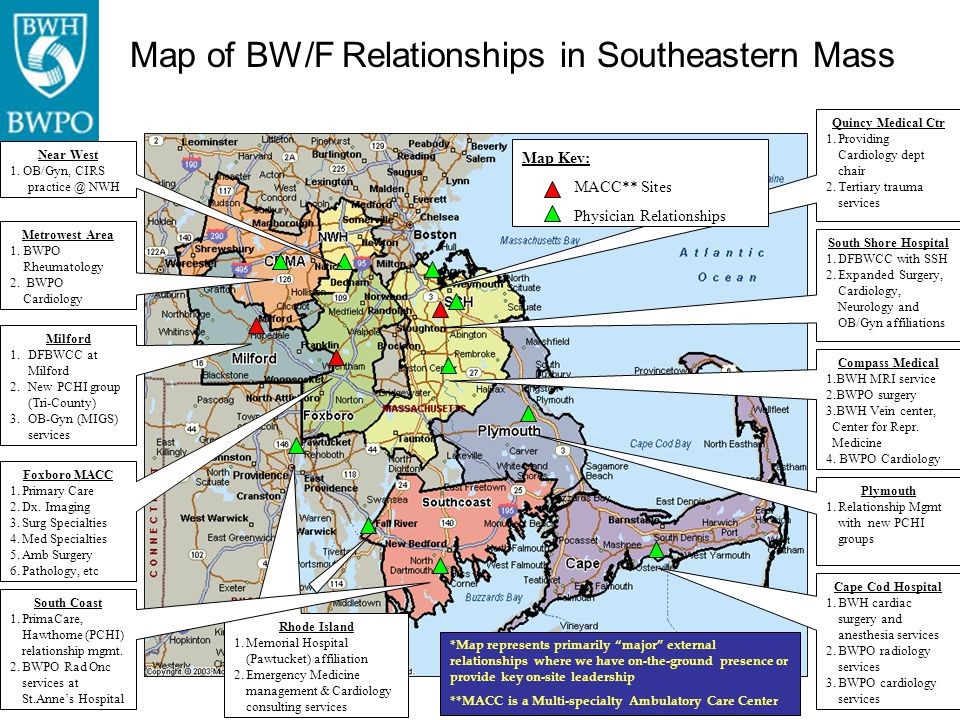 Map of BW/F Relationships in Southeastern Mass