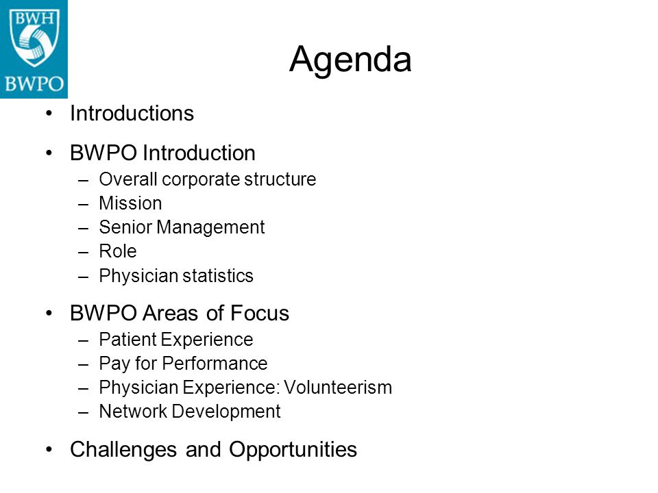 Agenda Introductions BWPO Introduction BWPO Areas of Focus
