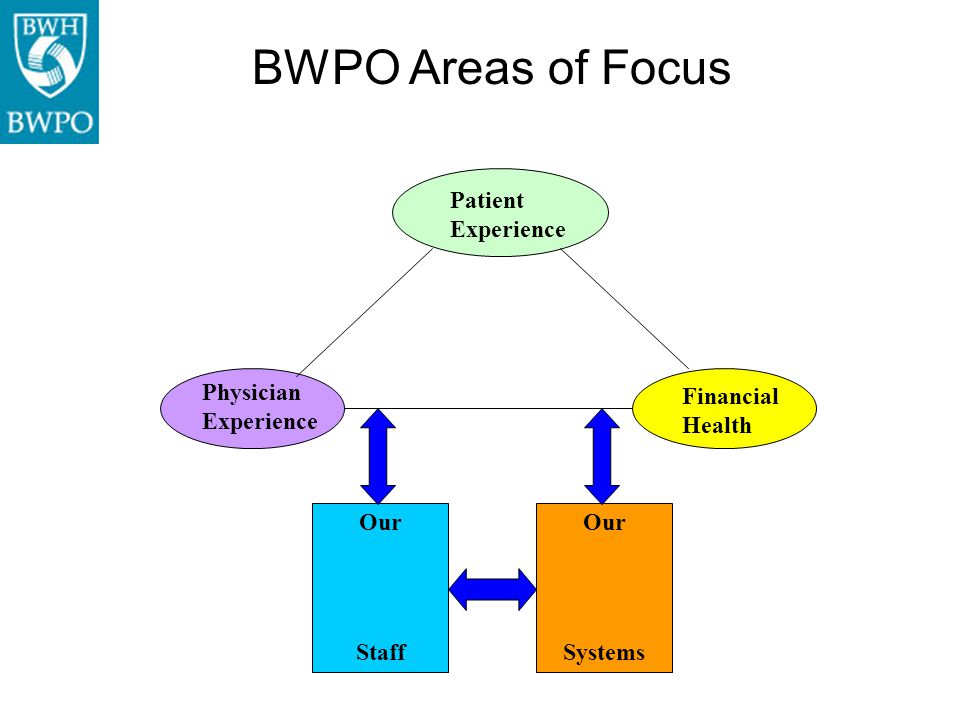 BWPO Areas of Focus Patient Experience Physician Experience Financial