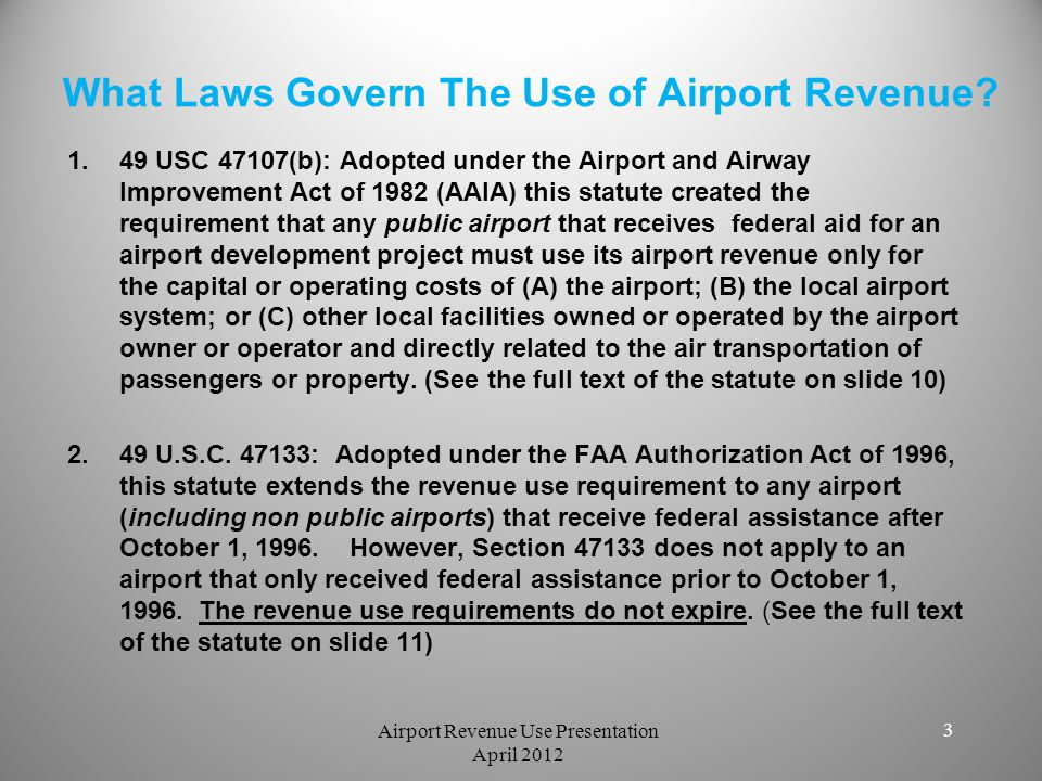 What Laws Govern The Use of Airport Revenue