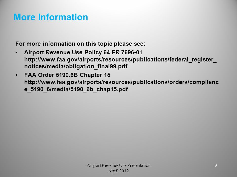 Airport Revenue Use Presentation April 2012
