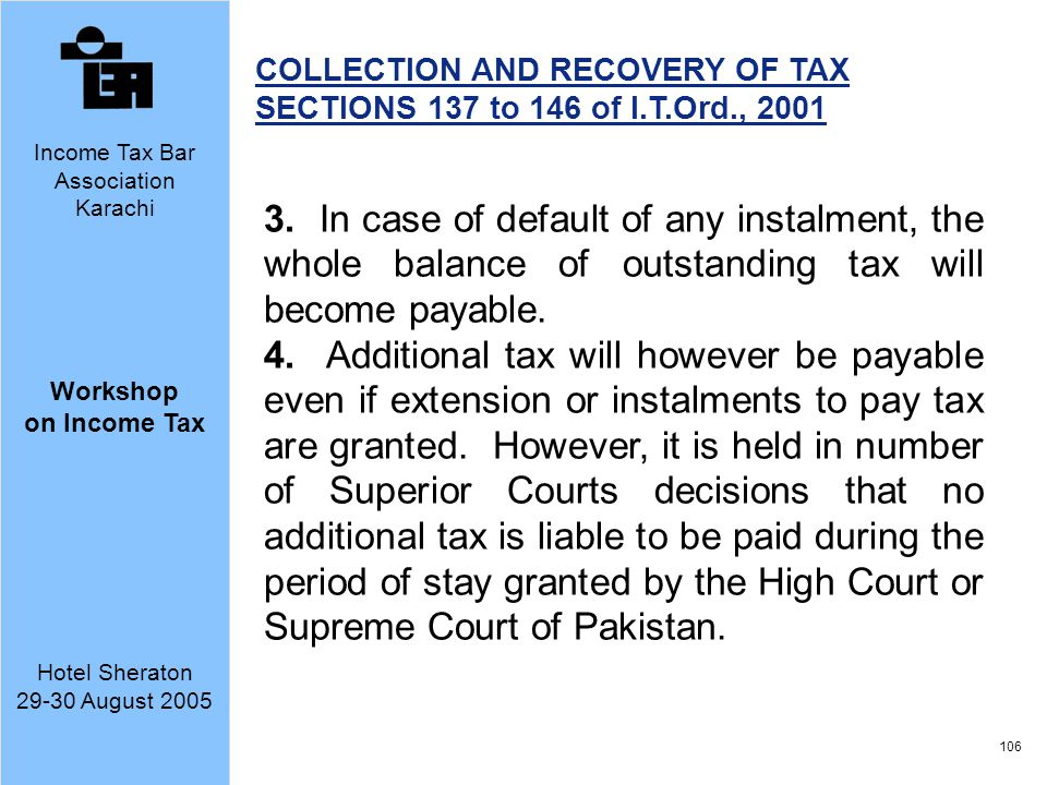 COLLECTION AND RECOVERY OF TAX