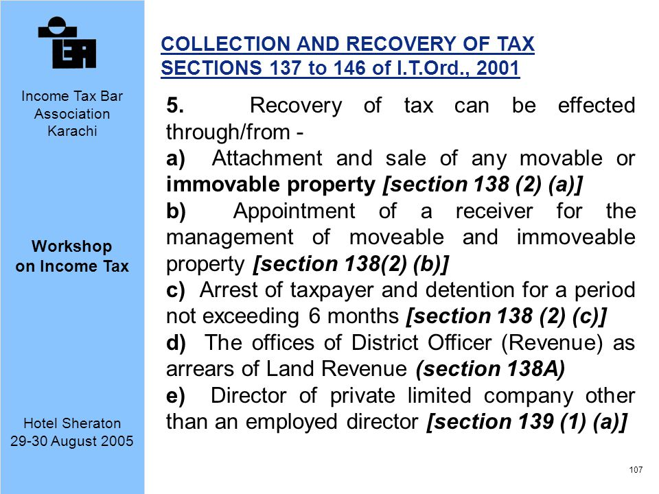 5. Recovery of tax can be effected through/from -