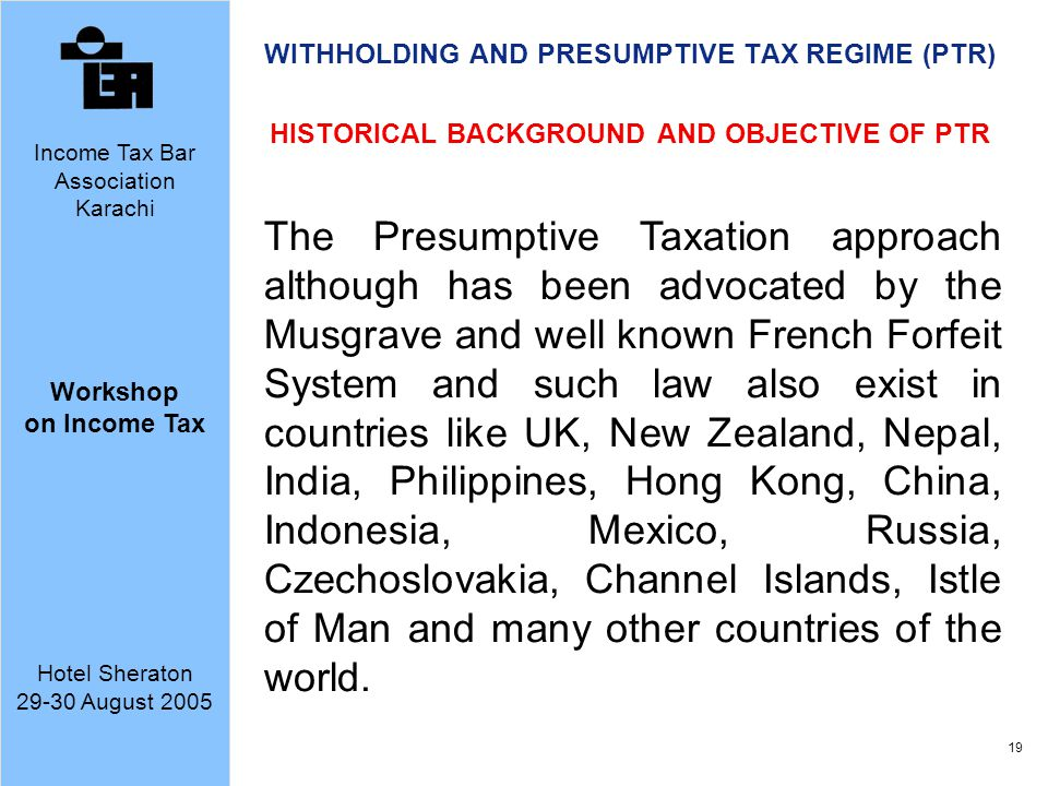 WITHHOLDING AND PRESUMPTIVE TAX REGIME (PTR)