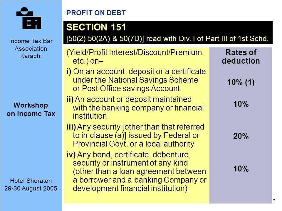 SECTION 151 (Yield/Profit Interest/Discount/Premium, etc.) on–