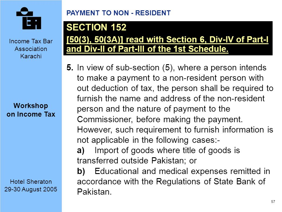PAYMENT TO NON - RESIDENT