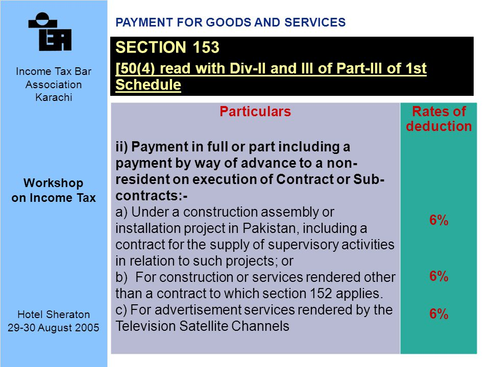 PAYMENT FOR GOODS AND SERVICES