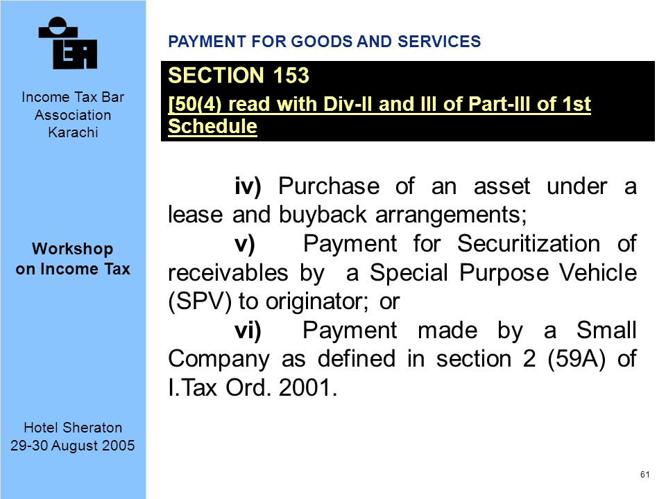 iv) Purchase of an asset under a lease and buyback arrangements;