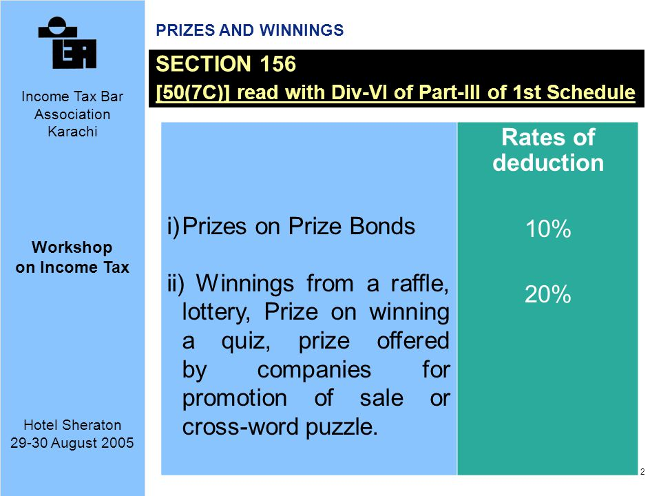 Rates of deduction Prizes on Prize Bonds 10%