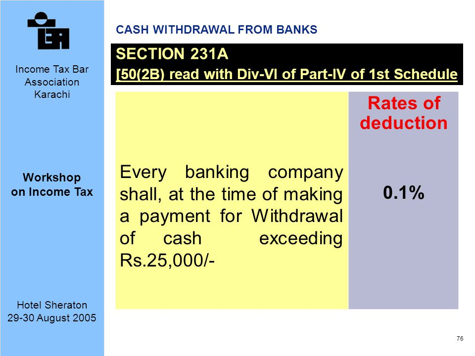 CASH WITHDRAWAL FROM BANKS