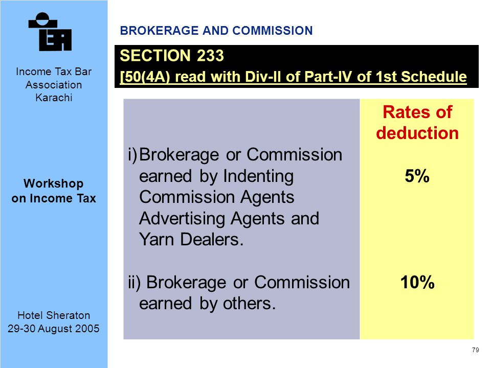 ii) Brokerage or Commission earned by others. Rates of deduction