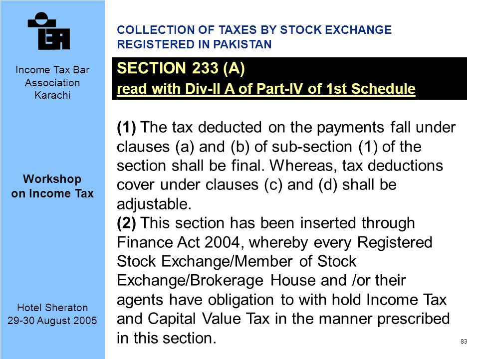 COLLECTION OF TAXES BY STOCK EXCHANGE REGISTERED IN PAKISTAN