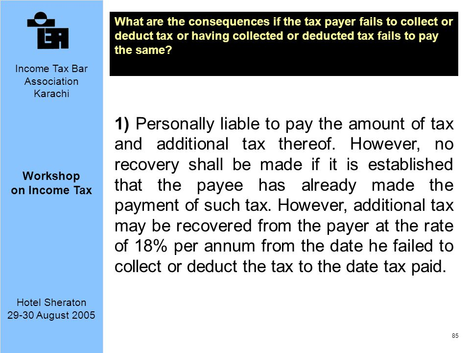 What are the consequences if the tax payer fails to collect or deduct tax or having collected or deducted tax fails to pay the same