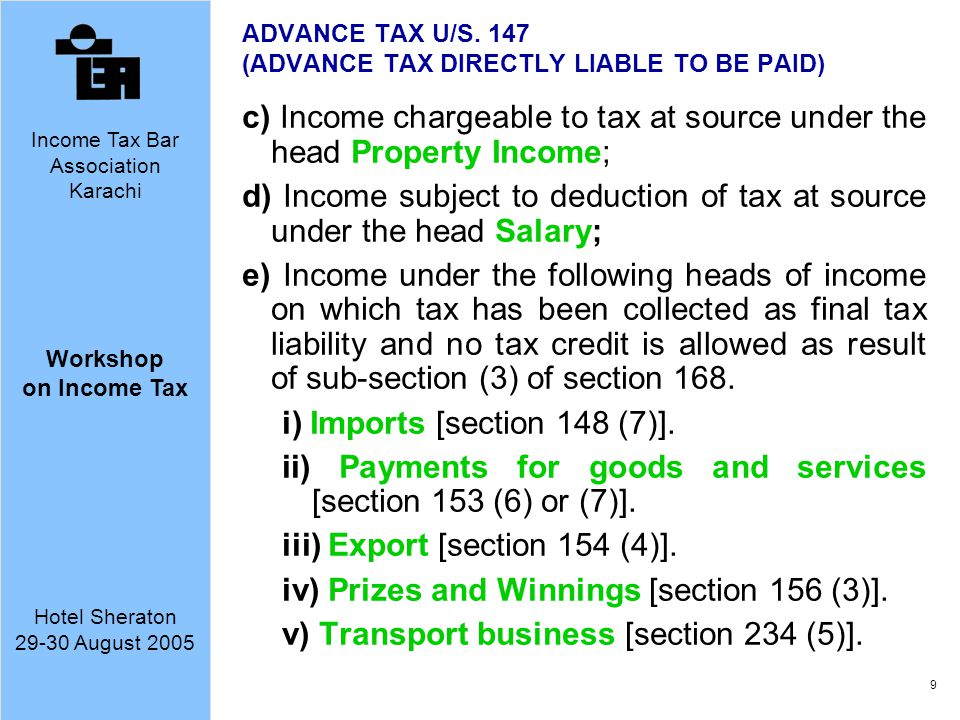 ADVANCE TAX U/S. 147 (ADVANCE TAX DIRECTLY LIABLE TO BE PAID)