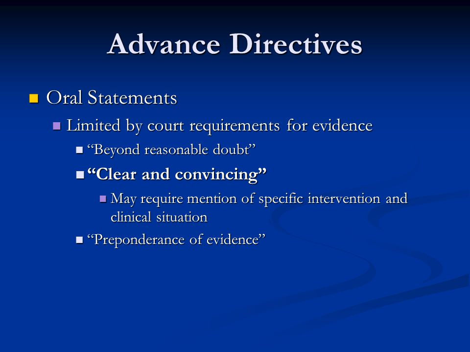 Advance Directives Oral Statements