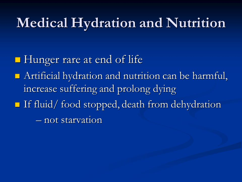 Medical Hydration and Nutrition