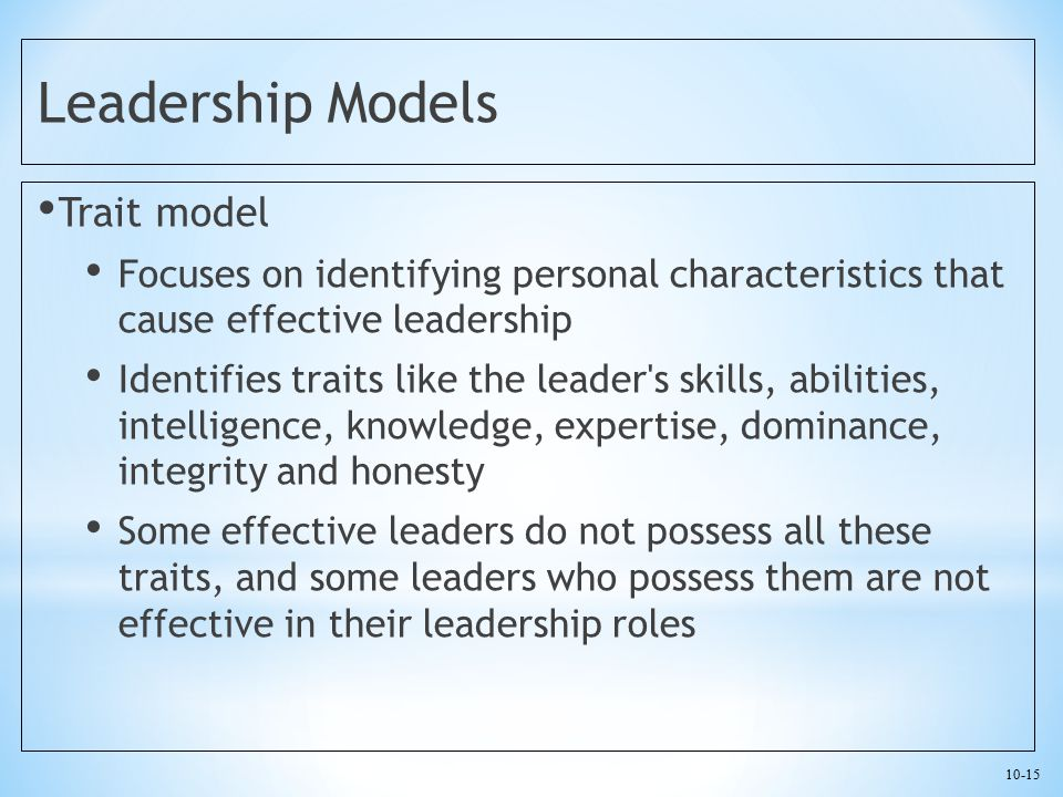 Leadership Models Trait model