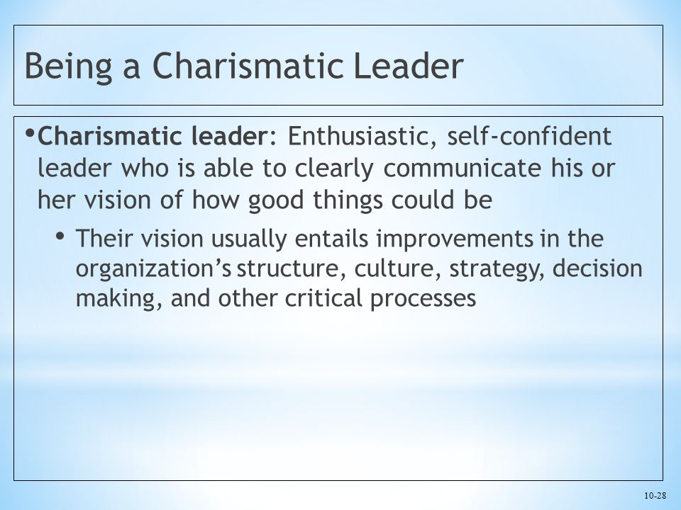 Being a Charismatic Leader