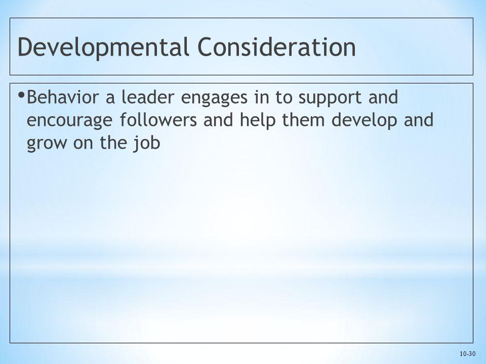 Developmental Consideration