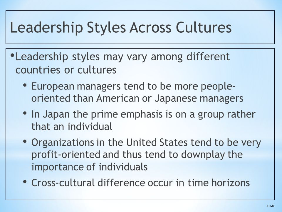 Leadership Styles Across Cultures
