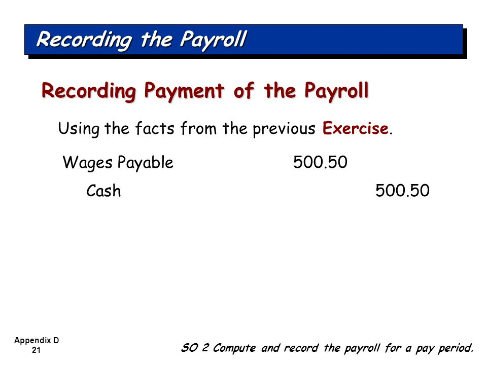 Recording Payment of the Payroll