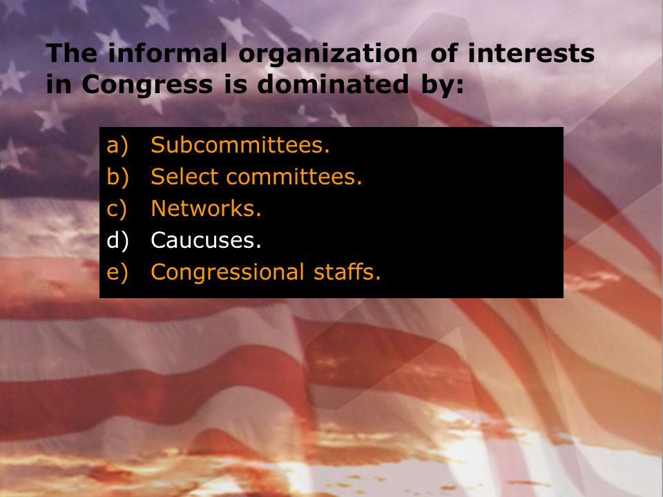 The informal organization of interests in Congress is dominated by: