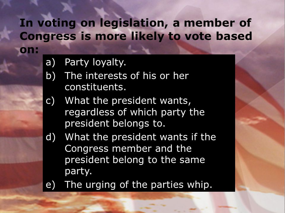 In voting on legislation, a member of Congress is more likely to vote based on: