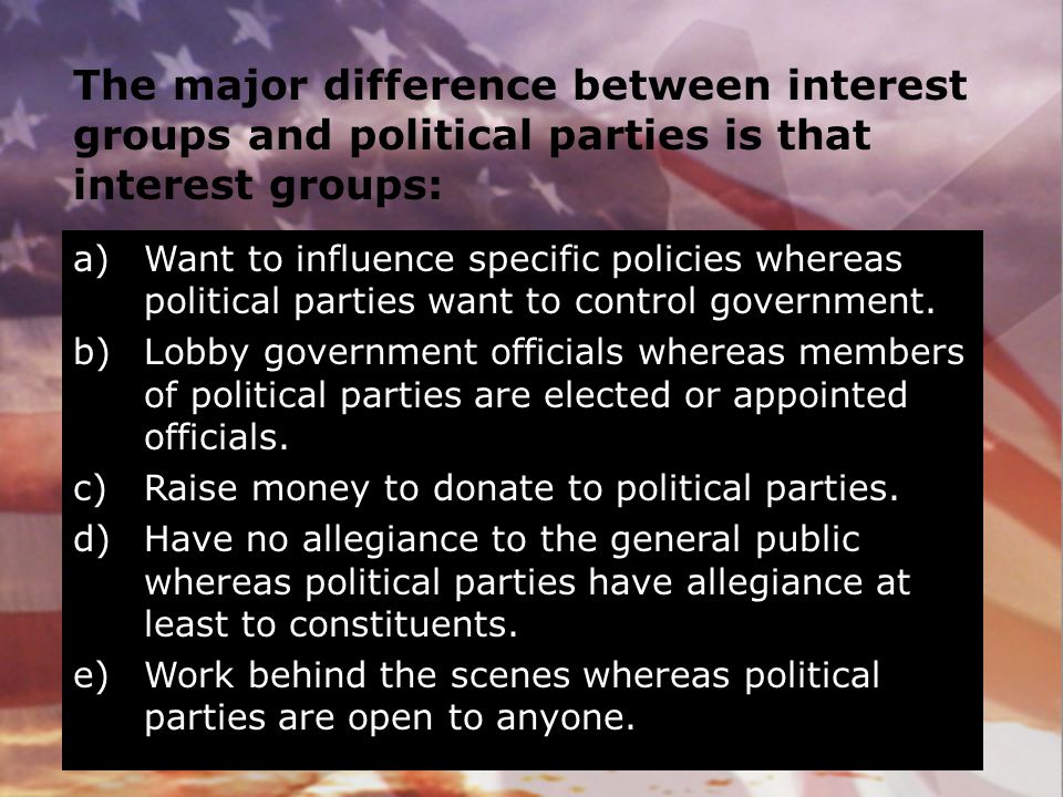 The major difference between interest groups and political parties is that interest groups: