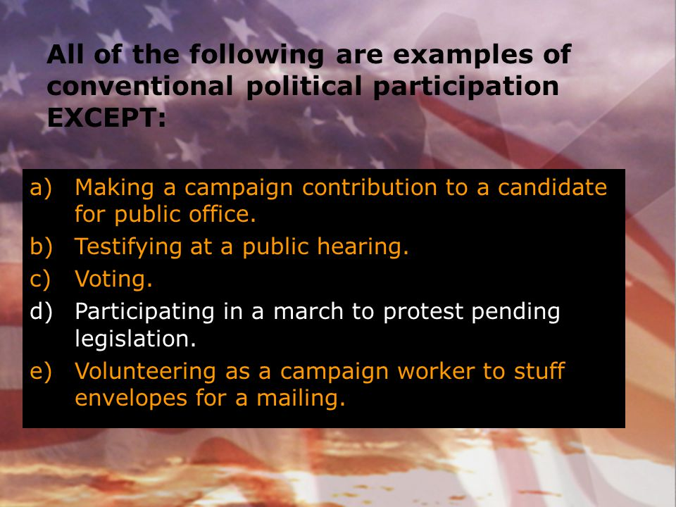 All of the following are examples of conventional political participation EXCEPT: