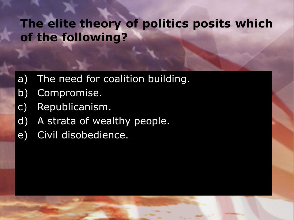 The elite theory of politics posits which of the following