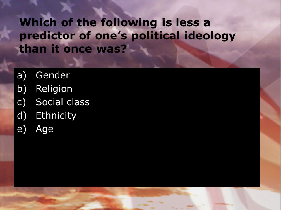 Which of the following is less a predictor of one's political ideology than it once was