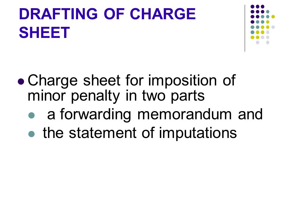 DRAFTING OF CHARGE SHEET