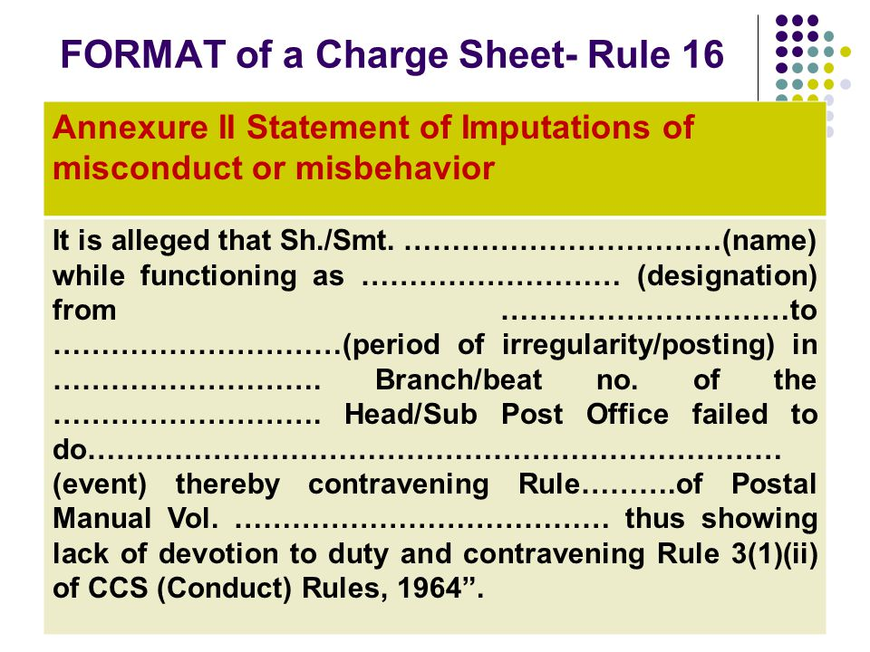 FORMAT of a Charge Sheet- Rule 16