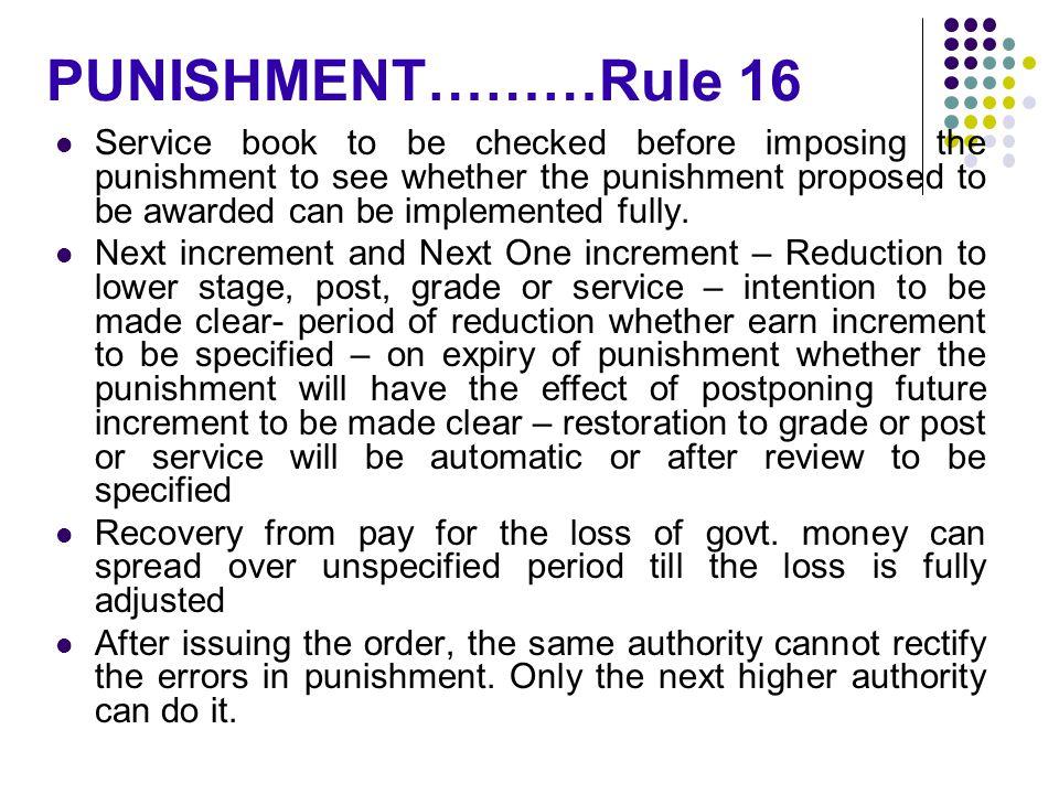 PUNISHMENT………Rule 16