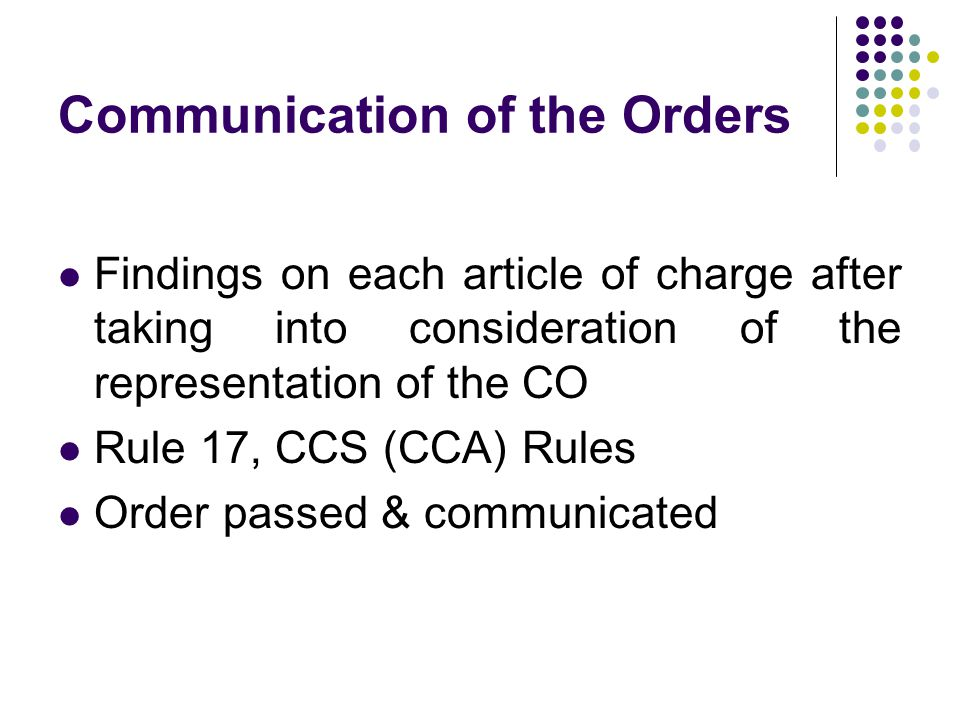 Communication of the Orders