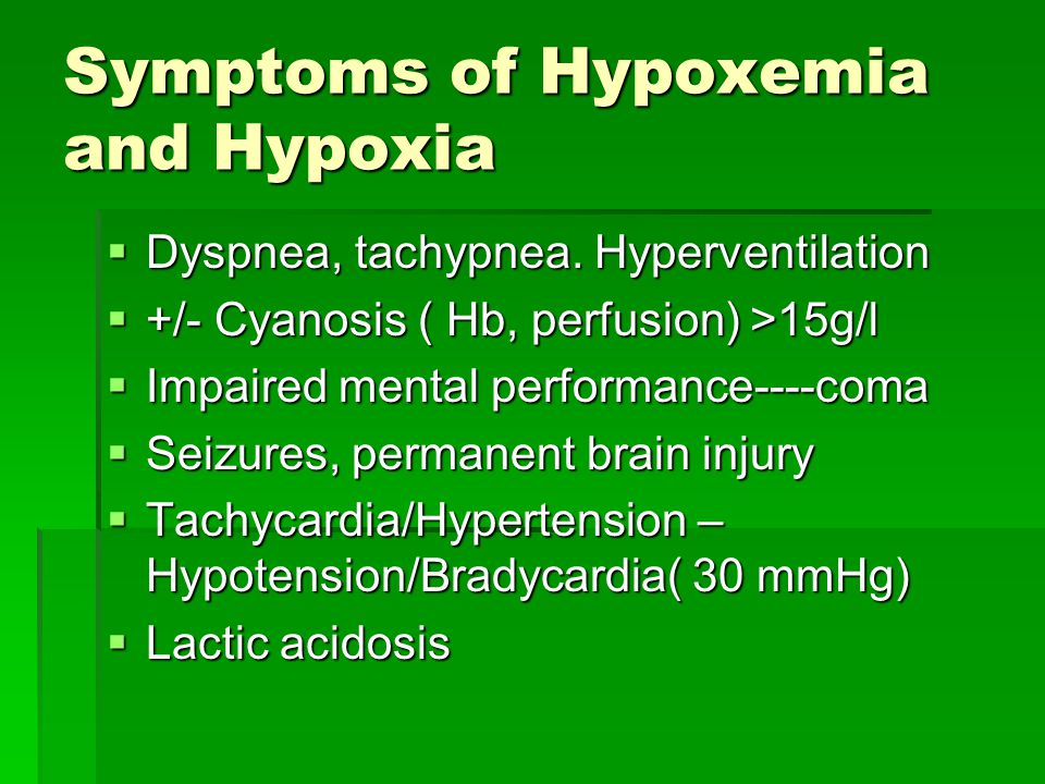 Symptoms of Hypoxemia and Hypoxia