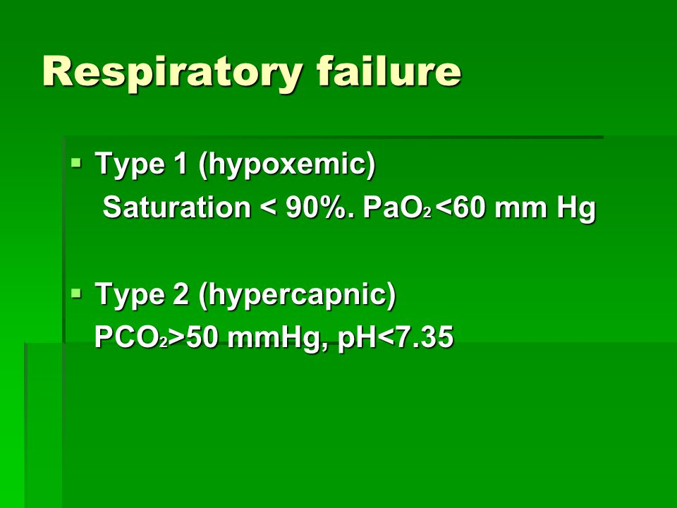 Respiratory failure Type 1 (hypoxemic)