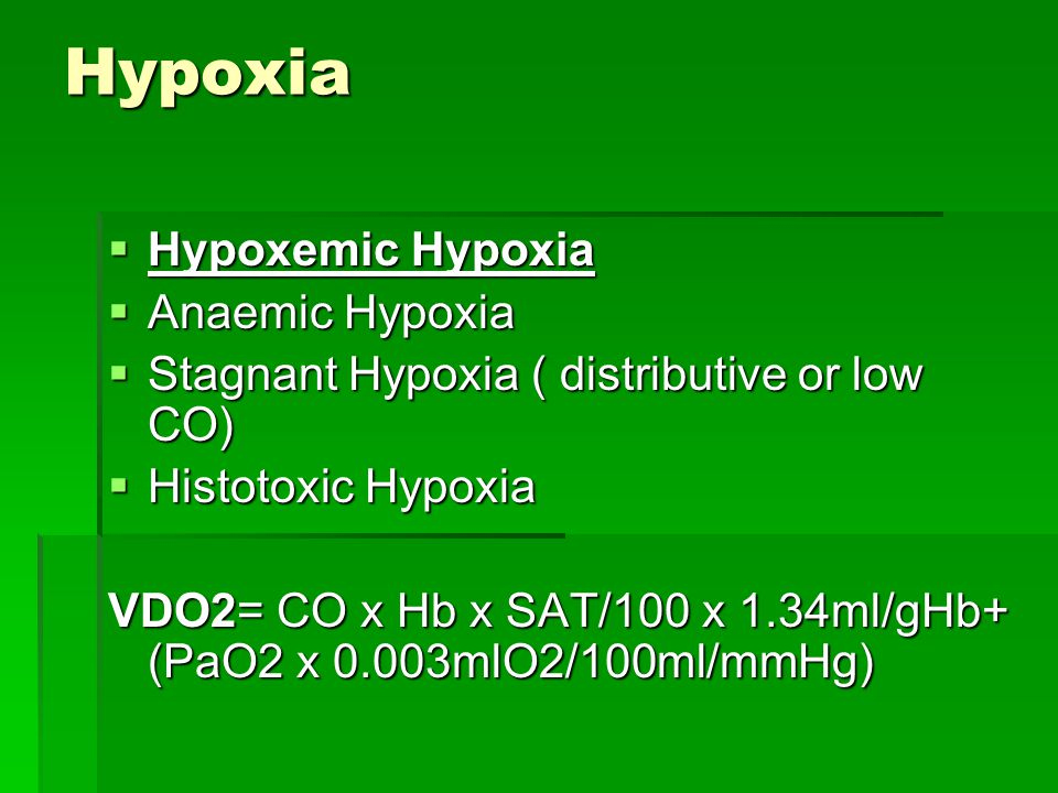 Hypoxia Hypoxemic Hypoxia Anaemic Hypoxia