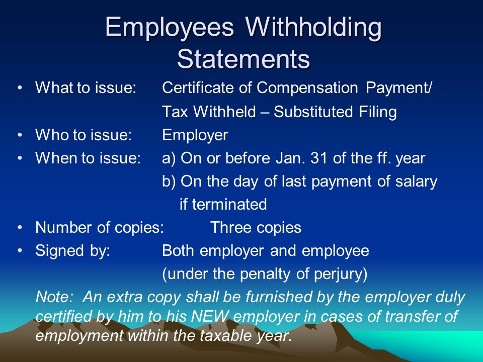 Employees Withholding Statements