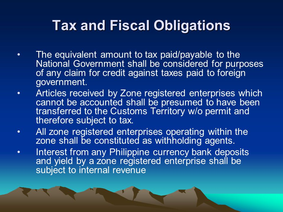Tax and Fiscal Obligations