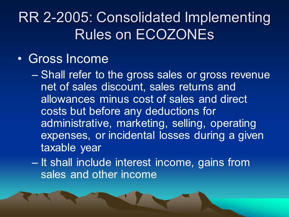 RR 2-2005: Consolidated Implementing Rules on ECOZONEs