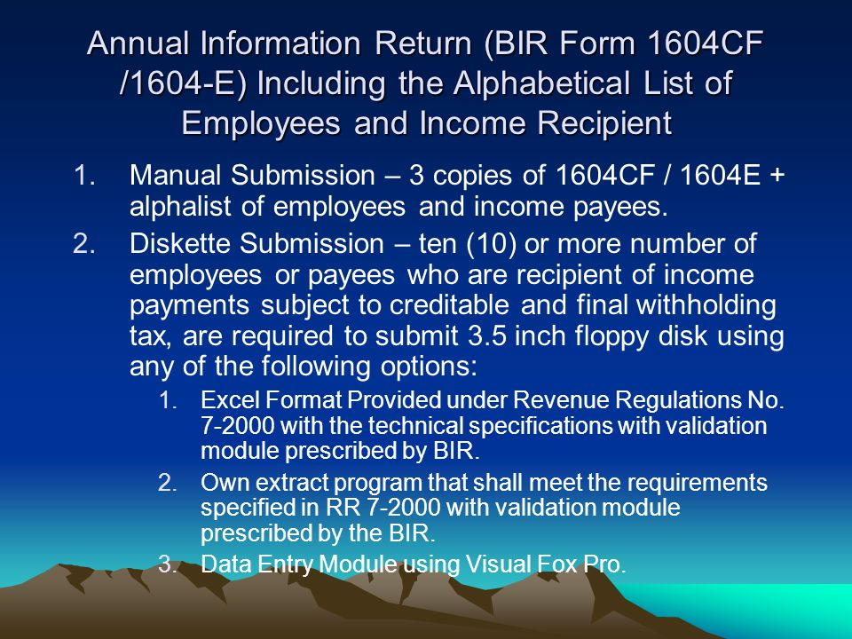 Annual Information Return (BIR Form 1604CF /1604-E) Including the Alphabetical List of Employees and Income Recipient