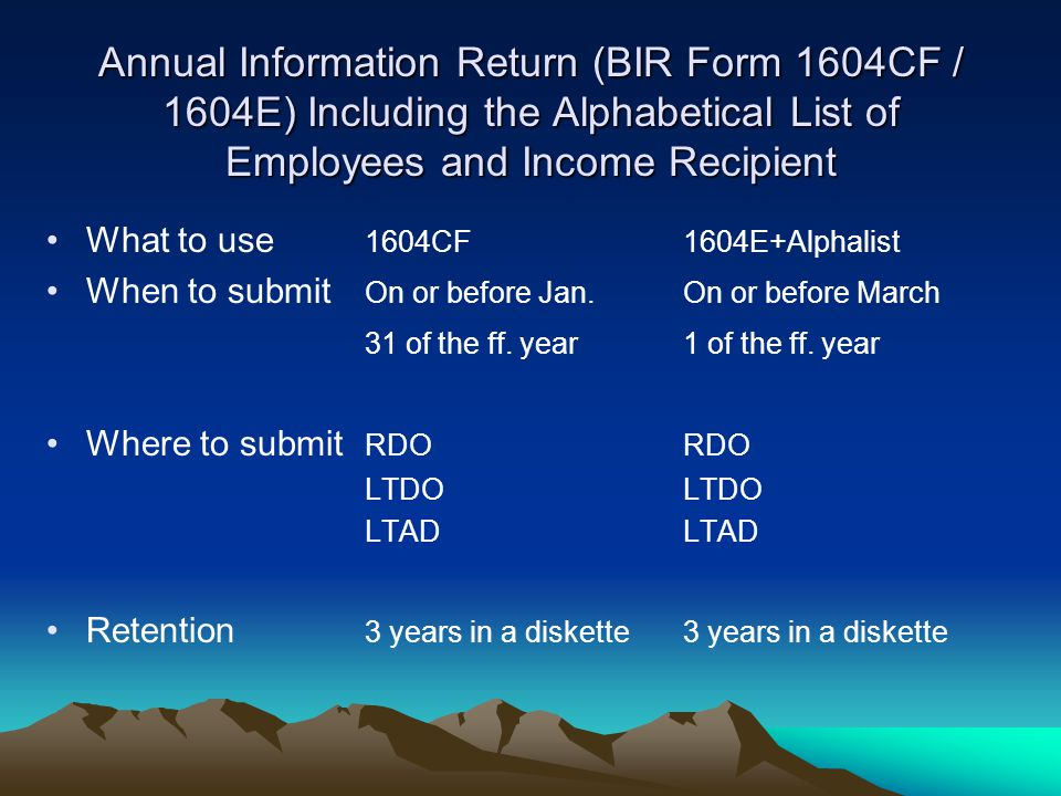 Annual Information Return (BIR Form 1604CF / 1604E) Including the Alphabetical List of Employees and Income Recipient