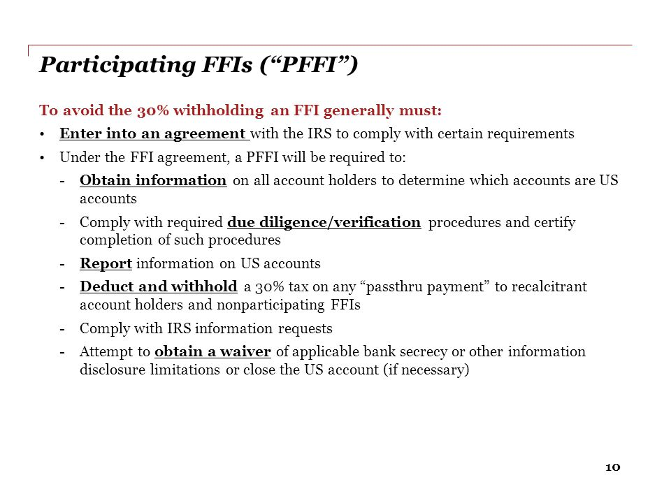Participating FFIs ( PFFI )