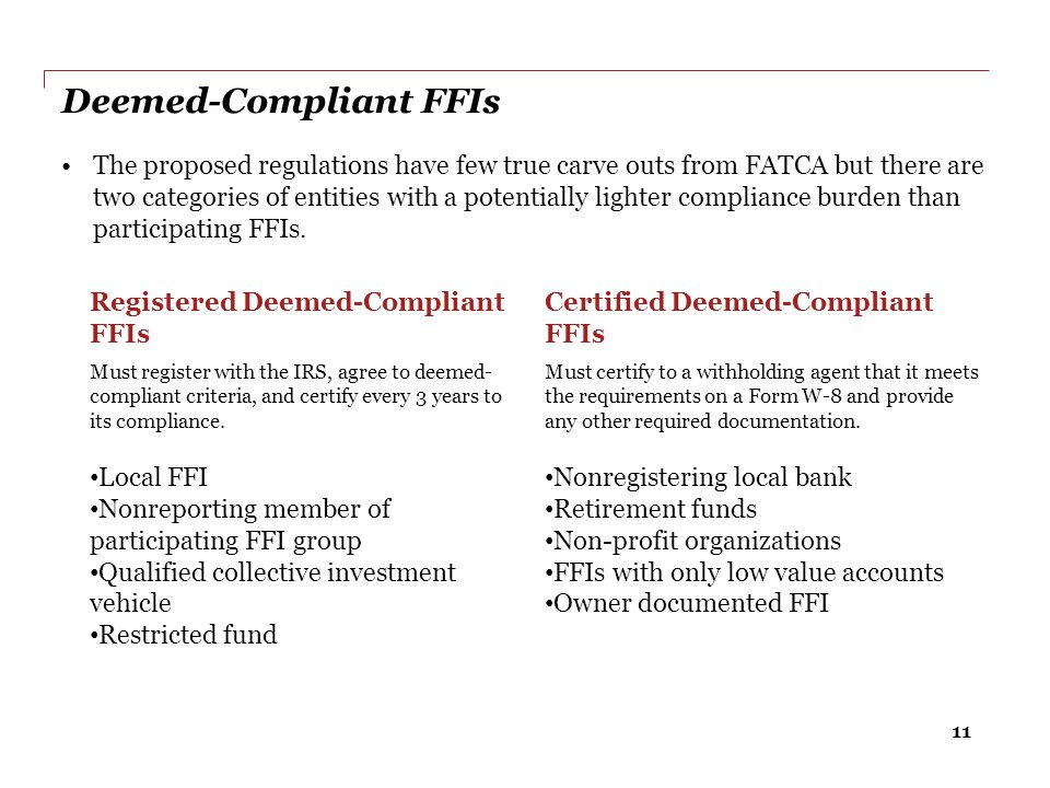 Deemed-Compliant FFIs