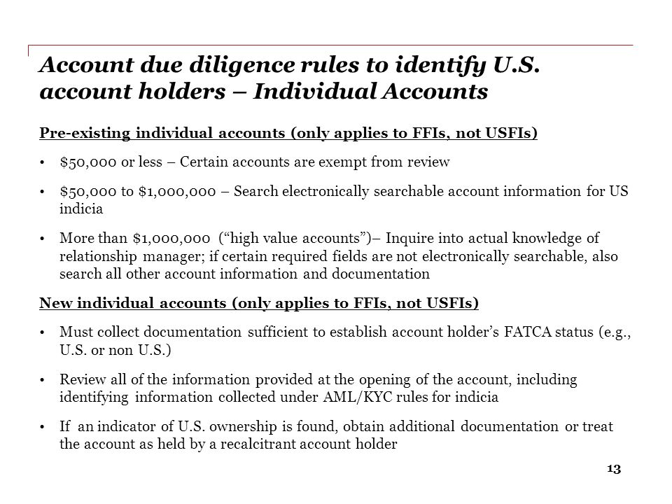 Account due diligence rules to identify U. S