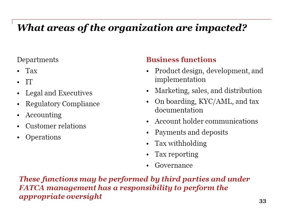 What areas of the organization are impacted