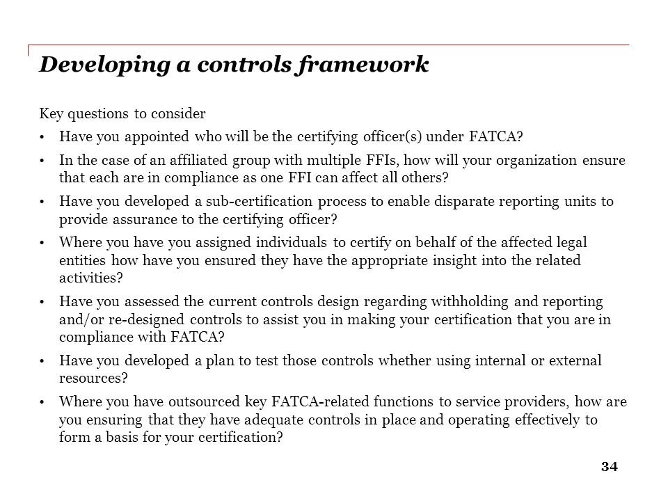 Developing a controls framework
